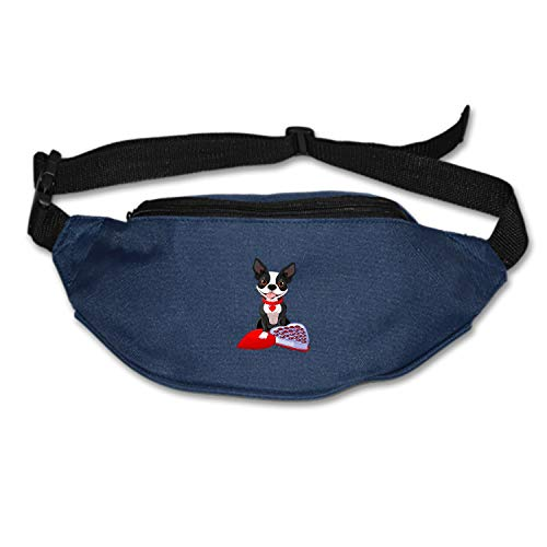 Hiking Waist Bag Can Hold iPhone6 Plus 5.9 inch Chocolate Boston Terrier Funny Running Belt Bum Bag for Ridding Dog Walking