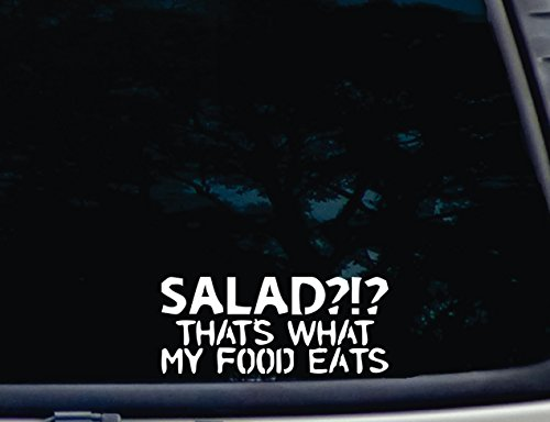 """SALAD?!? That's what MY food Eats - 7"""" x 3"""" die cut vinyl decal for window, car, truck, tool box, virtually any hard, smooth surface"""