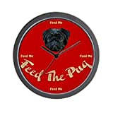 CafePress – Feed the Pug Black Wall Clock – Unique Decorative 10″ Wall Clock