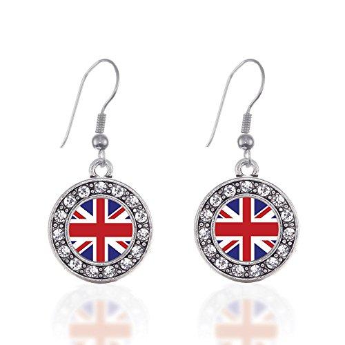 UK Flag Circle Charm Earrings French Hook Clear Crystal (Flag Charm Earrings)