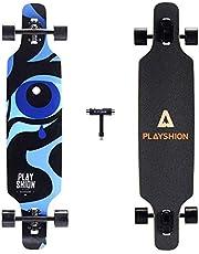 Playshion Longboard 39 Inch, ABEC-9 Kogellager, Drop-Through Freeride Skateboards Cruiser
