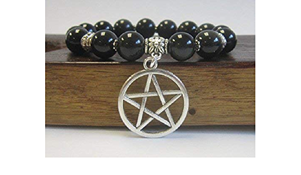 Pentacle Bracelet with red and clear crystal.