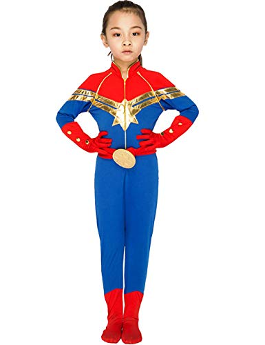 (JAPANSCHOICE Kids Superhero Costume Suit 3D Spandex Unisex Jumpsuit Bodysuit for Kids Aged 5-13 (Captain Marvel, S for Height 43.3