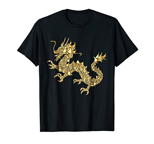Dragon T-Shirt shiny gold Abstract Art Monster Shirt (Shirt Gold White Dragon)