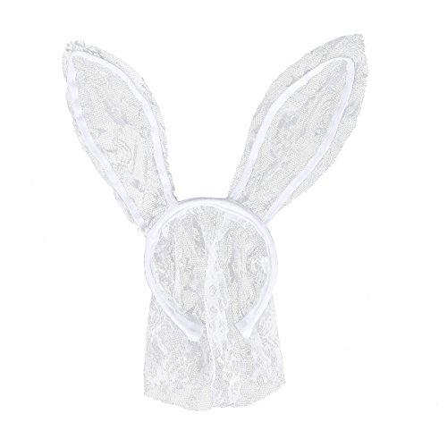 Rabbit Ears Headband Easter Bunny Mask Hairband Headwear Nightclubs Masquerade Party Cosplay Headwrap - White ()