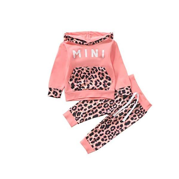 MoccyBabeLee Tuta da Bambina Tuta da Bambina Tuta da Ginnastica Tinta Unita Felpa con Cappuccio Pullover Pantaloni… 1
