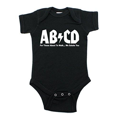 AB/CD Rock & Roll 100% Cotton Short Sleeve Baby Bodysuit One Piece 3-6M, Black