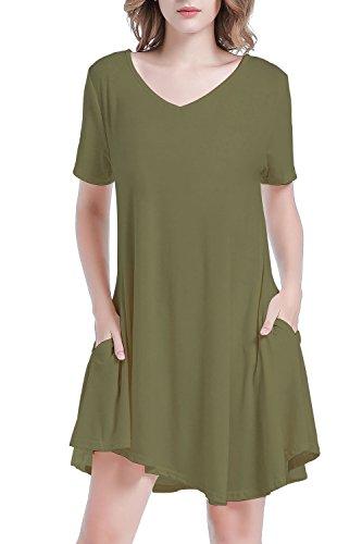 Poppe Poppee - Womens Summer Short Sleeve Pocket Draped Loose Swing Casual T Shirt Dress (Medium, Army (Womens Army Fancy Dress)