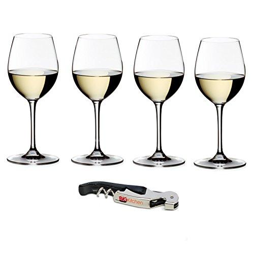 Riedel Vinum Leaded Crystal Sauvignon Blanc 4 Piece Wine Glass Set with Bonus BigKitchen Waiter's Corkscrew
