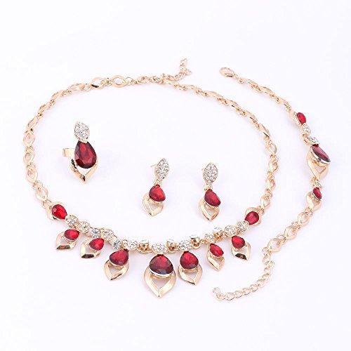 7d45e74a Set de boda Pixnor con collar, pulsera, anillo, pendientes