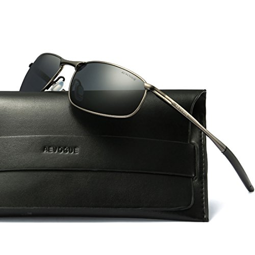 AEVOGUE Polarized Sunglasses For Men Rectangle Metal Frame Retro Sun Glasses AE0535 (Gray&Black, - Men Sunglasses For Rectangle
