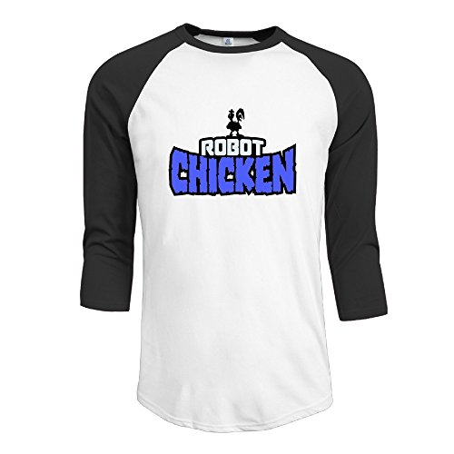 Yesher Men's Robot Chicken 3/4 Sleeve Baseball Jersey Shirts - Medium (Chicken Croc)