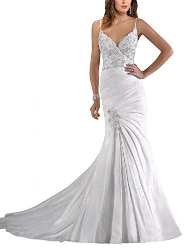 Damen Kleidungen Taft Hof Drapiert Weiß Ausschnitt Trompete Meerjungfrau Applikation Schleppe V Dearta Mit 4dcfawqp54
