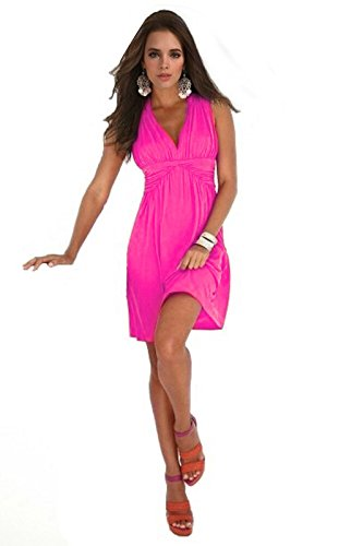Charm Your Prince Womens Sleeveless Summer Sundress Medium Hot Pink