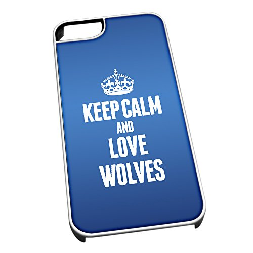 Bianco Custodia protettiva per iPhone 5/5S Blu 2506 Keep Calm e Love lupi