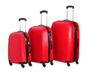 Highflyer Curve Series 3 PC Trolley Hard Luggage Bag Set- Red