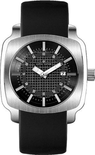 Alpha Saphir 286A - Reloj de Caballero de Cuarzo, Correa de Piel Color Negro: Amazon.es: Relojes