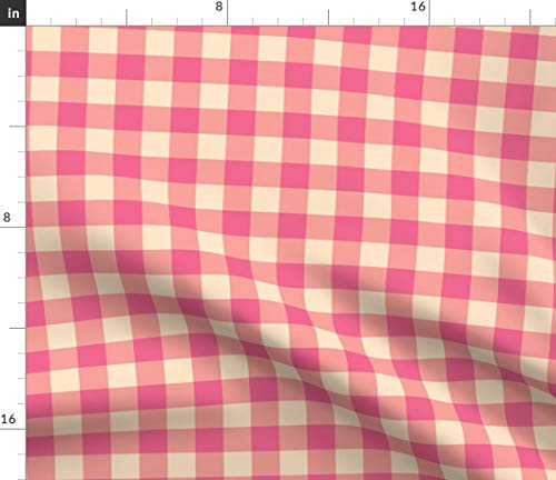 Buffalo Check Fabric - Buffalo Plaid Pink and Peach Baby Design Wyoming Cowboy Gingham Print on Fabric by The Yard - Petal Signature Cotton for Sewing Quilting Apparel Crafts Decor