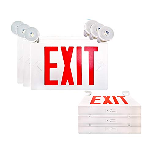 SPECTSUN LED Exit Sign Battery Backup, Red Exit Emergency Light with 2 Lamp Heads, 120V/277V Business Exit Sign White, Egress Sign Emergency Light - 6 Pack,Industrial/Building Exit Sign,Exit Sign Lens