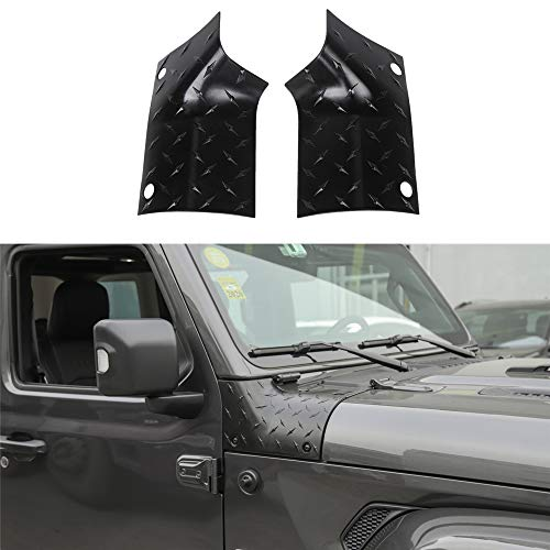 JUNLELI for 2018 Jeep Wrangler JL Exterior Side Hood Angle Wrap Diamond Plate Cowl Armor Cover Corner Guards Trim Car Stickers Accessories(Pack of 2) (Diamond Plate Hood Guard)