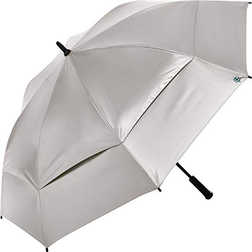(Coolibar UPF 50+ 62 Inch Tournament Golf Umbrella - Sun Protective (One Size- Silver/Green))