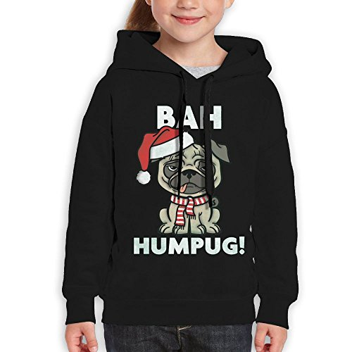 Price comparison product image Anraglan Christpugs Bah Humpug Girls Long Sleeve Pullover Hooded Sweatshirt Black Size XL