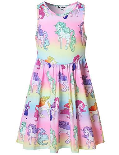 Girls Sleeveless Unicorn Mermaid Dresses Summer Clothes Hawaiian Beach Outfits