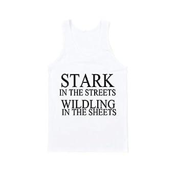 5588953001d58 STARK IN THE STREETS WILDLING FUNNY SLOGAN MEN WOMEN Gift Fashion VEST TANK  TOP - WHITE - XS  Amazon.co.uk  Clothing