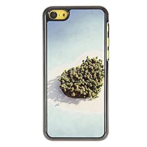 Bkjhkjy Romantic Heart Shaped Island Pattern PC Hard Case with 3 Packed HD Screen Protectors for iPhone 5C