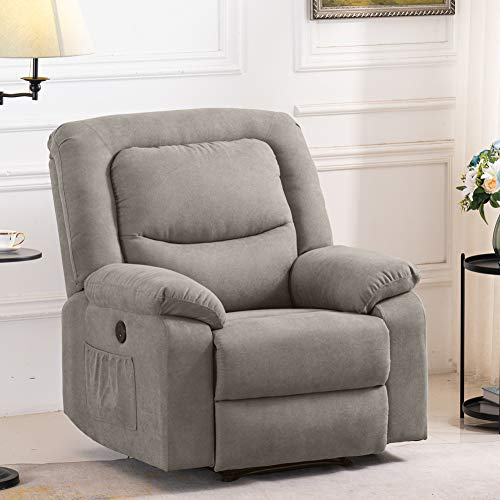 B BAIJIAWEI Fabric Electric Recliner Chair – Heated Vibration Massage Sofa with USB Charge Port – Microfiber Reclining Sofa for Home, Living Room, Bedroom