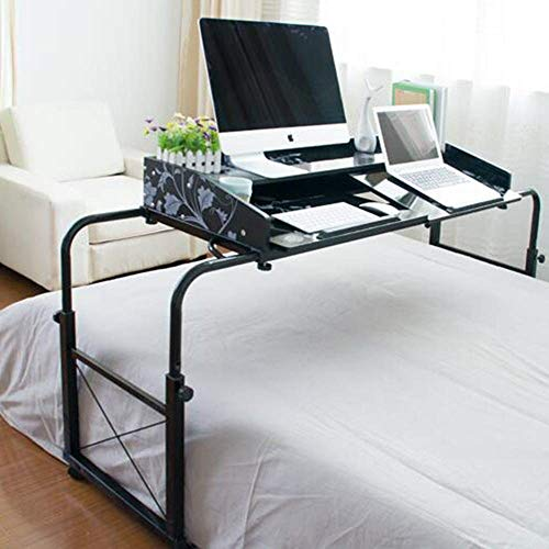 - CWJ Household Small Table Multi-Function Height Length Adjustable Mobile with Stand Board Writing Desk or Drafting Simple Creative Bed Multifunction Table,Black