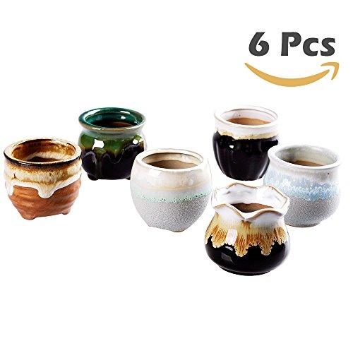 6 Pcs In Set 2.6 inch Mini Ceramic small succulent Planter Pot Serial Cactus Planter Pot Flower Pot Container Planter