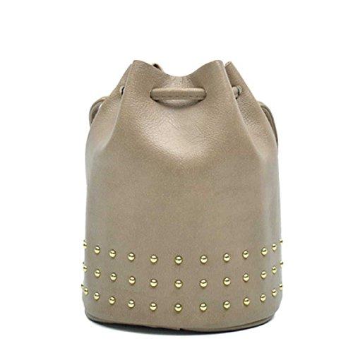 Le Donne Rivetti Messenger Bag Moda Borsa Secchiello,Grey-OneSize