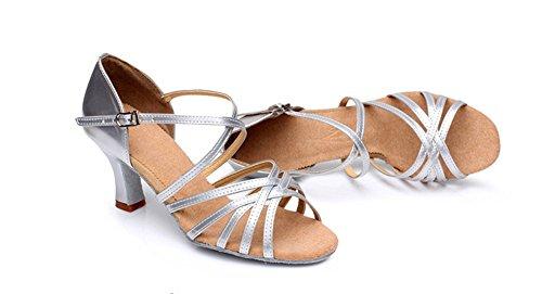 da ballo Wx Lady 34 tacco Xw morbido scarpe 40 Adult latino alto Pu argento donne fondo latino qRx0qwYd