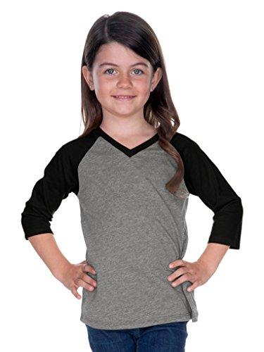 b4344d57 Kavio! Little Girls 3-6X Sheer Jersey Contrast V Neck Raglan 3/4 Sleeve