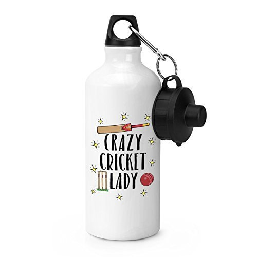 hiusan Crazy Cricket Lady Sports Water Bottle White Novelty Aluminum Water Bottle for School Gym Camping by hiusan