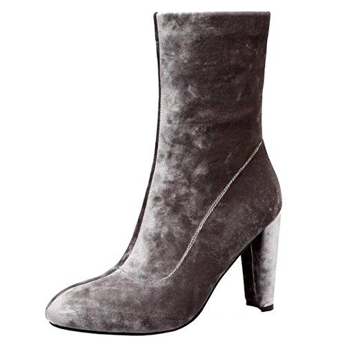 AIYOUMEI Damen Wildleder High Heels Winter Stiefeletten mit 10cm Absatz Modern Warm Stiefel Schuhe Grau
