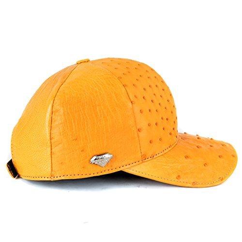 Genuine Ostrich Exotic Skin Adjustable Baseball Cap (Buttercup)