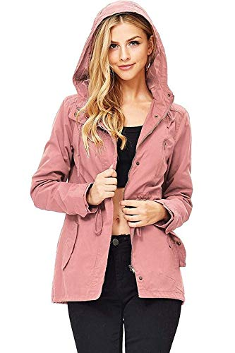 (Ambiance Women's Cargo Style Hoodie Jacket (L, Rose))