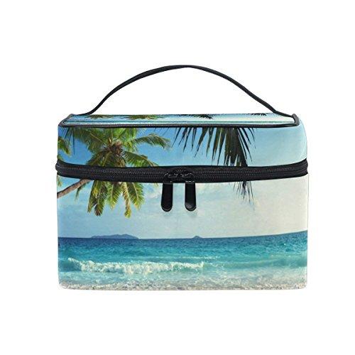 Cosmetic Case Bag Palm Tree Beach Seawave Portable Travel Makeup Bag Toiletry Organizer