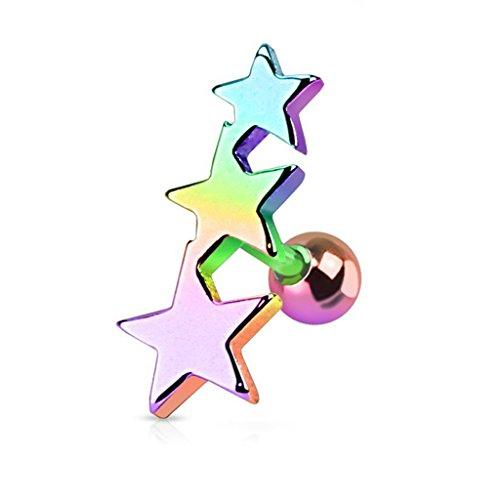 (Fifth Cue 16GA Triple Star 316L Surgical Steel Tragus Cartilage Piercing Stud (Rainbow))