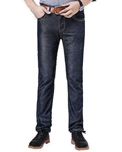Denim Jeans Da Blu Black Vita Pantalone Casual Lavato Addensare Lungo A Uomo Metà qB4OSnIxzw