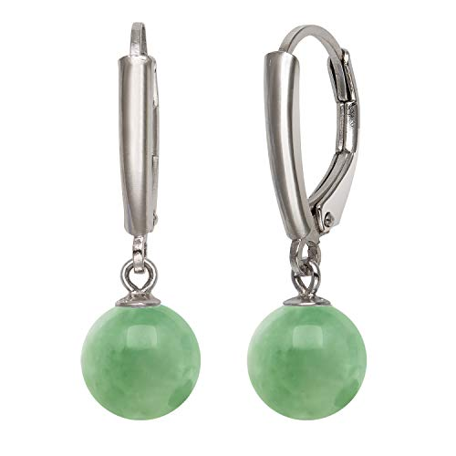 Earring Ring Jade (Sterling Silver Natural Green Jade Lever Back Drop Dangle Earring for Women)