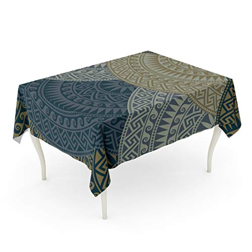 Tarolo Rectangle Tablecloth 60 x 84 Inch Key Traditional Vintage Dark Fan Shaped Ornate Greek Patterns Meander Abstract Antique Arch Table Cloth]()