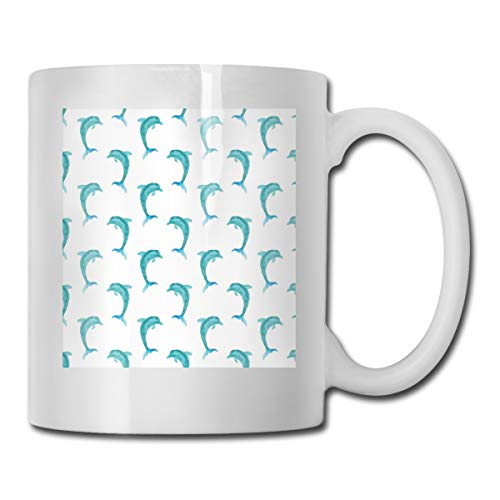 - Funny Ceramic Novelty Coffee Mug 11oz,Aqua Watercolor Art Dolphin Figures Ocean Playful Marine Underwater Theme,Unisex Who Tea Mugs Coffee Cups,Suitable for Office and Home