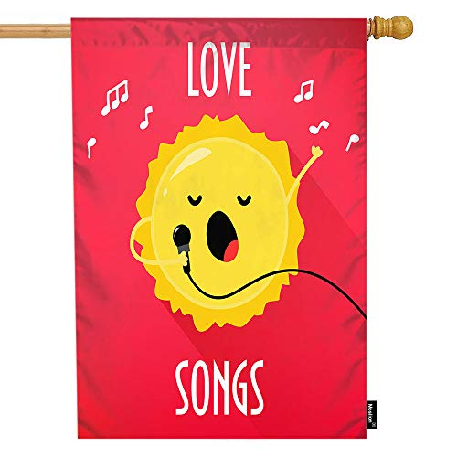 Moslion Sun House Flag Cartoon Sunshine Microphone Sings Karaoke Love Songs Music Garden Flags 28x40 Inch Double-Sided Banner Welcome Yard Flag Home Outdoor Decor. Lawn Villa