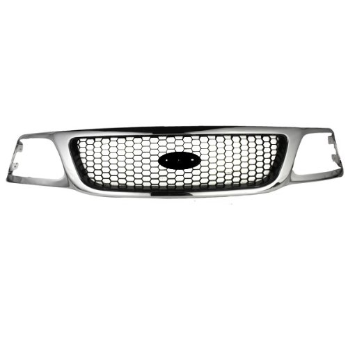 (CarPartsDepot, 2WD Front Chrome Frame/Black Honeycomb Insert Grille Grill No Emblem Assembly, 400-18665-CB FO1200404 3L3Z8200BB)