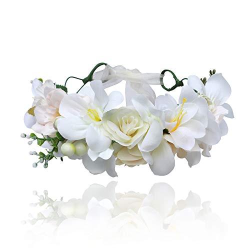 (AWAYTR Bohemia Big Lilies Floral Crown Party Wedding Hair Wreaths Hair Bands Flower Headband (white + cream white))