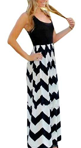 ZXFHZS Women's Zig Zag Chevron Stripe Summer Party Maxi Long Dress Black XXL