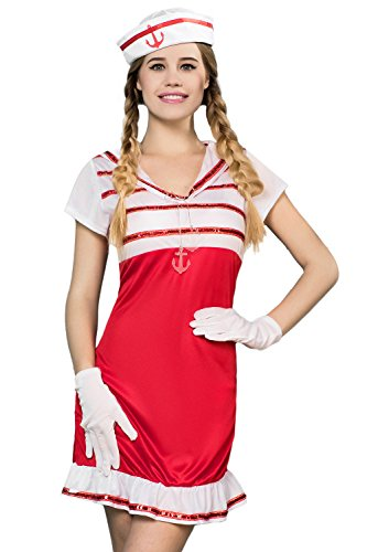 Adult Women Sexy Sailor Halloween Costume Pretty Captain Dess Up & Role Play (Standard+)